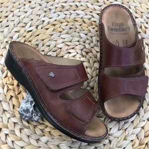 Finn Comfort Leather Sandals Brown Slides Velcro